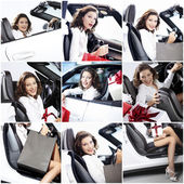 Mosaic successful woman with car and gift — Stock Photo