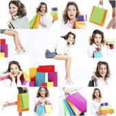 Happy woman shopping collage — Stock Photo