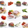 Meat collage on white background — Stock Photo