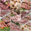 Composition of various meats collage — Stock Photo