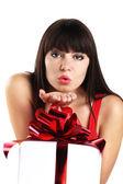Belle fille avec le cadeau de noël — Photo