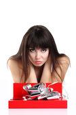 Cadeau de la femme dans la boîte rouge — Photo