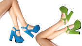 Shoes worn by female legs  — Foto Stock