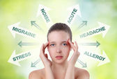 Woman showing pain in the head with info graphic — Stock Photo