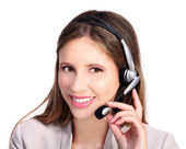 Customer service smiling girl with headphones and microphone — Стоковое фото