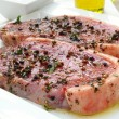 Sirloin steaks on white plate — Foto Stock