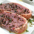 Sirloin steaks on white plate — Lizenzfreies Foto