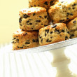 Stock Photo: Savory olive scones on cake stand
