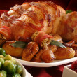 Traditional Christmas roast turkey dinner with vegetables — Stock Photo #34226409
