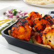 King prawn tandoori on skillet — Stock Photo