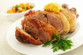 Roast duck with seasonal vegetables — Stock Photo