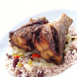 Fried snapper with rice peas — Stock Photo
