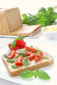 Making tomato and mozzarella sandwich — Stock Photo