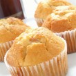 Lemon muffins on white platter with cafetiere — Stock Photo