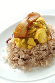 Saltfish with ackee and jollof rice — Stock Photo