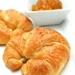 Stock Photo: Fresh croissant with preserve