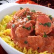 Indian chicken tikka masala with pilau rice — Stock Photo