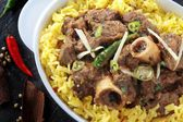 Indian lamb curry with pilau rice — Stock Photo