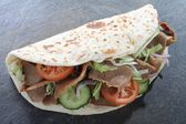 Lamb doner naan sandwich — Stock Photo