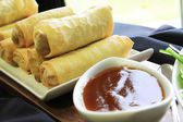 Spring rolls with dip — Стоковое фото