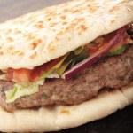 Indian Shish kofta kebab naan bread burger — Stock Photo