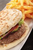 Indian Shish kofta kebab naan bread burger — Stock Photo