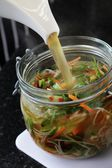 Potted vegetables noodles — Stock Photo