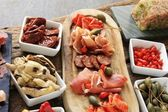Mixed antipasti antipasto antipesto selection — Stock Photo