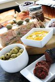 Charcuterie antipasti antipasta selection — Stock Photo