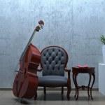 Double bass interior romantic scene — Stock Photo