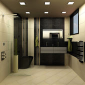 Bathroom black design — Stock Photo