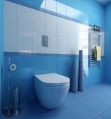 Blue bathroom and wc — Stock Photo