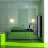 Green bathroom with sink — Stock Photo