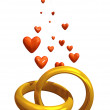 Rings with hearts — Stock Photo