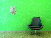 Interior scene green wall with chair — Stock Photo