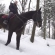 Woman horseback riding in snowy forest — Stock Video