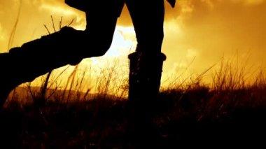 Meisje loopt door veld — Stockvideo