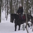 Young woman horseback riding — Stock Video