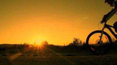 Mountain biker pulls a wheelie — Stock Video
