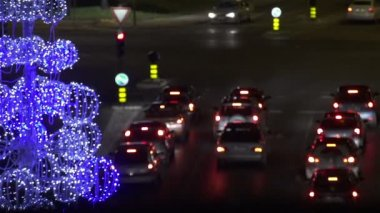 Christmastime traffic — Stock Video