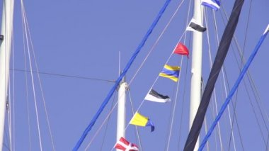 Multinational Flags on the sailing boat — Stock Video
