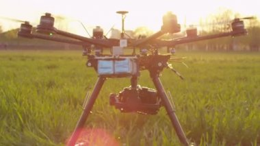 Octocopter taking off — Stock Video