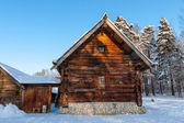 Log Hut in the Winter — Stock Photo