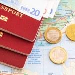 Passport, map, money — Stock Photo #41253999