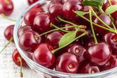 Ripe cherries with leaves in a bowl on a white background — Stock Photo