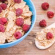 Breakfast: cereal with raspberries and yogurt — Stock Photo #49484929