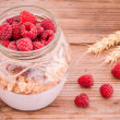 Breakfast: cereal with raspberries and yogurt — Stock Photo #49484993