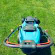 Blue lawn mower on green grass — Stockfoto #49732177