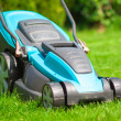 Blue lawn mower on green gras — Stock fotografie