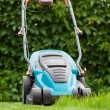 Blue lawn mower on green grass — Stock fotografie
